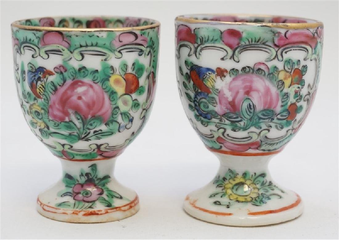 2 QING DYNASTY ROSE MEDALLION EGG CUPS - 3
