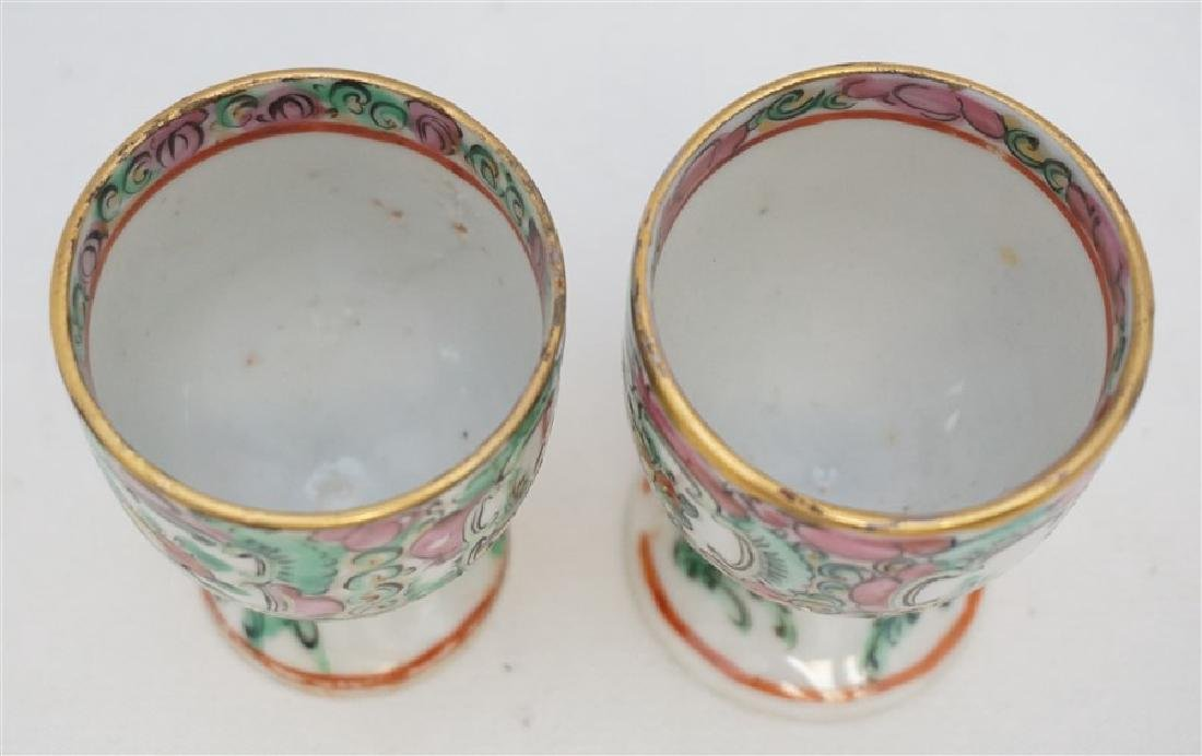 2 QING DYNASTY ROSE MEDALLION EGG CUPS - 5