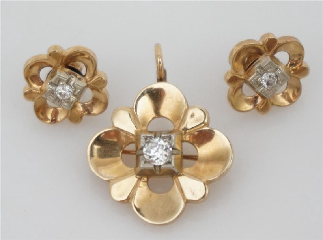 DIAMOND BROOCH/PENDANT & EARRING SET- 14KT (8.50 GRAMS)