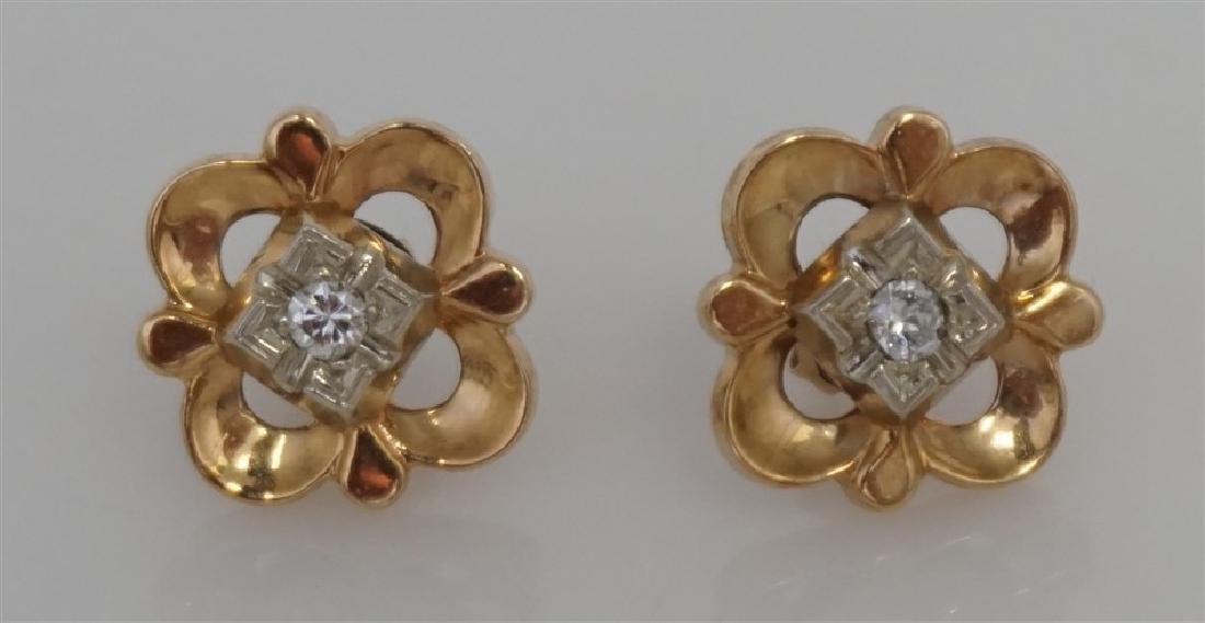 DIAMOND BROOCH/PENDANT & EARRING SET- 14KT (8.50 GRAMS) - 2