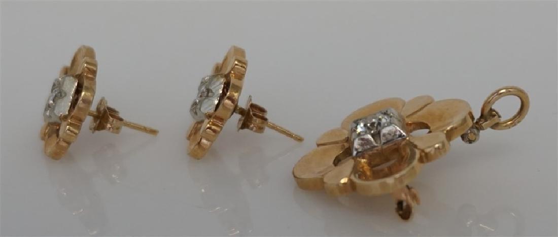 DIAMOND BROOCH/PENDANT & EARRING SET- 14KT (8.50 GRAMS) - 3