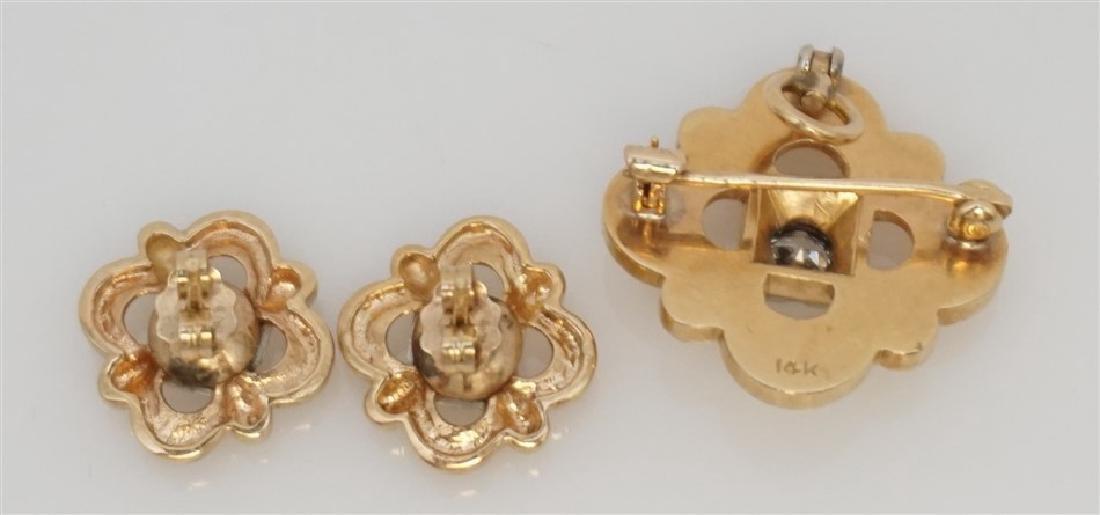 DIAMOND BROOCH/PENDANT & EARRING SET- 14KT (8.50 GRAMS) - 4