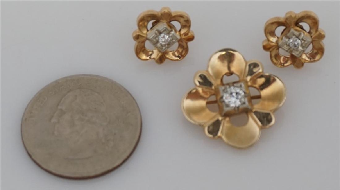 DIAMOND BROOCH/PENDANT & EARRING SET- 14KT (8.50 GRAMS) - 5