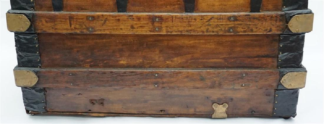 ANTIQUE FLAT TOP STEAMER TRUNK - 10