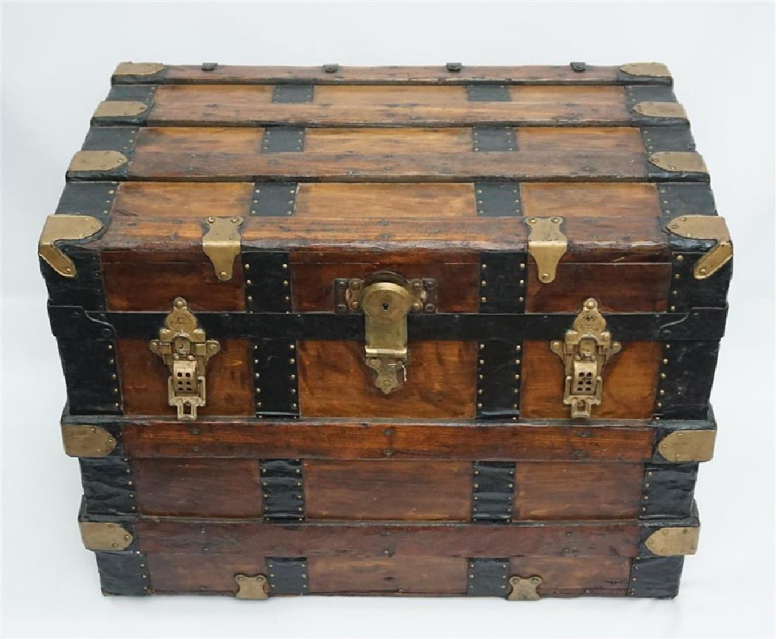 ANTIQUE FLAT TOP STEAMER TRUNK - 2