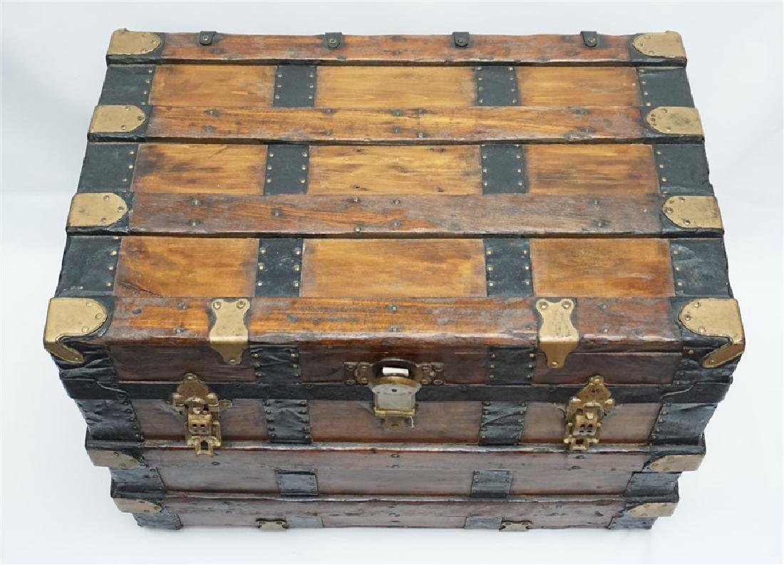 ANTIQUE FLAT TOP STEAMER TRUNK - 3