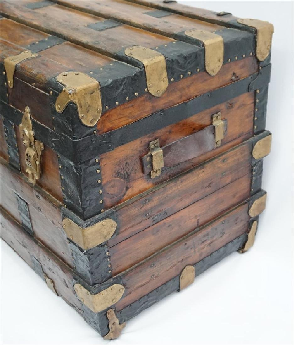 ANTIQUE FLAT TOP STEAMER TRUNK - 4