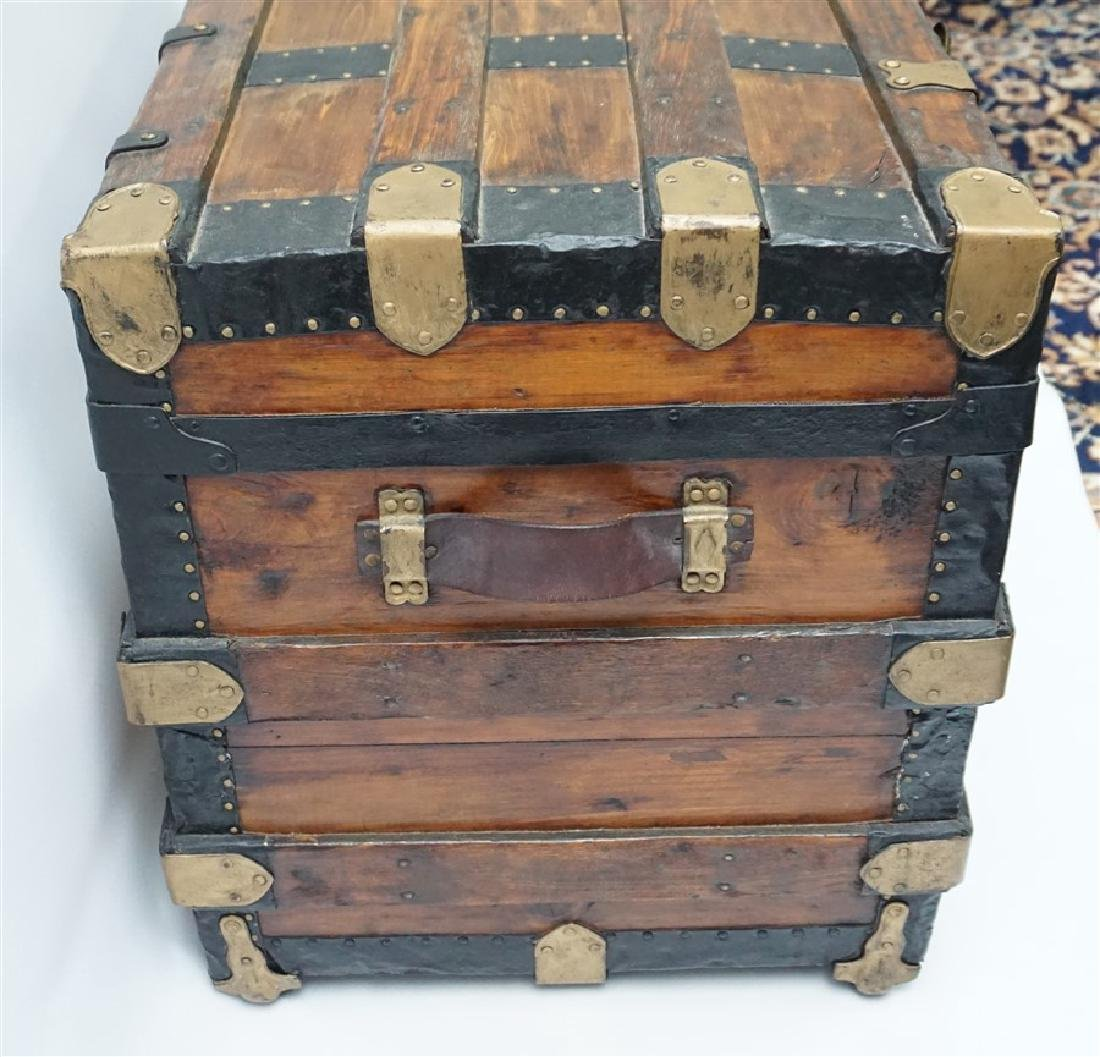 ANTIQUE FLAT TOP STEAMER TRUNK - 5