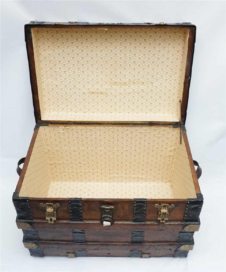 ANTIQUE FLAT TOP STEAMER TRUNK - 6