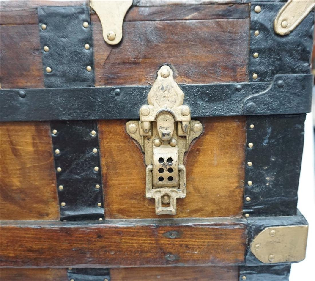 ANTIQUE FLAT TOP STEAMER TRUNK - 8