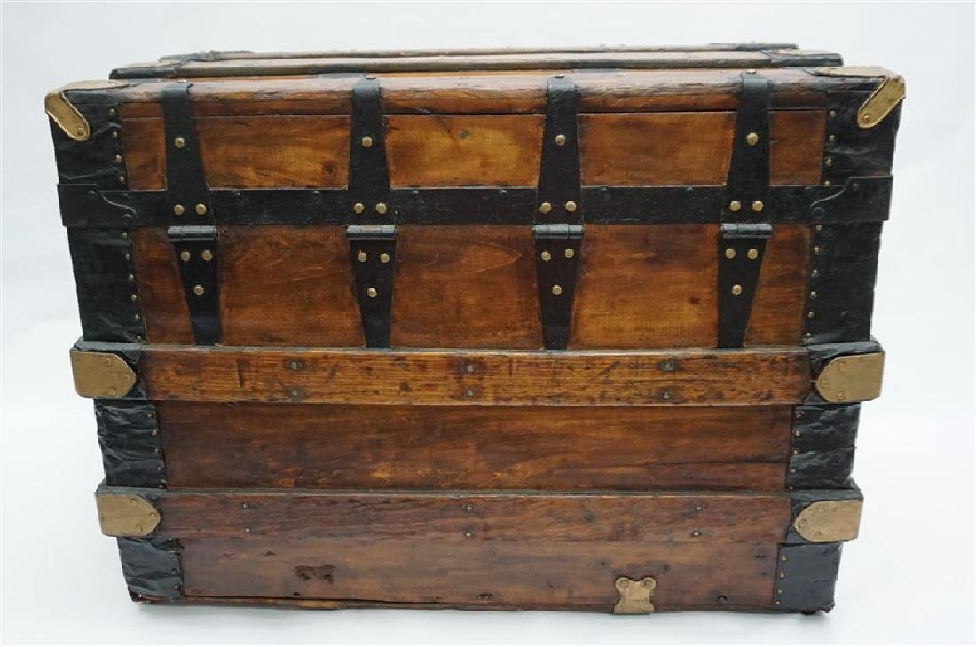ANTIQUE FLAT TOP STEAMER TRUNK - 9