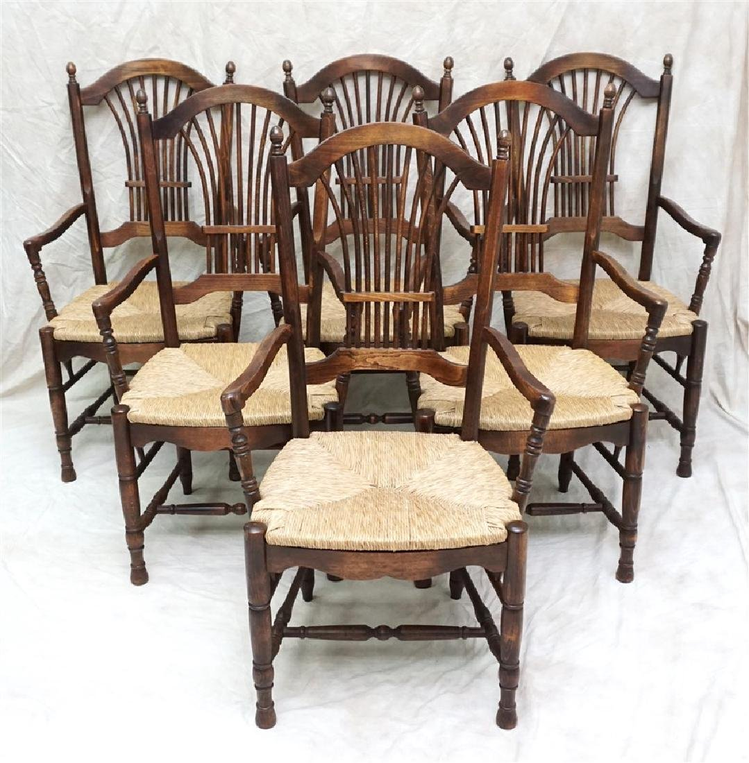6 OAK RUSH SEAT ARM CHAIRS DINING
