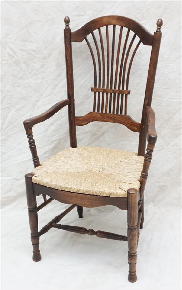 6 OAK RUSH SEAT ARM CHAIRS DINING - 2