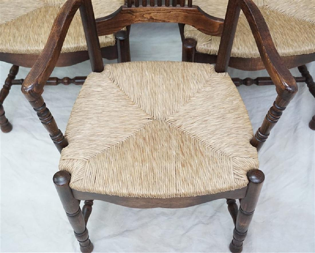 6 OAK RUSH SEAT ARM CHAIRS DINING - 3