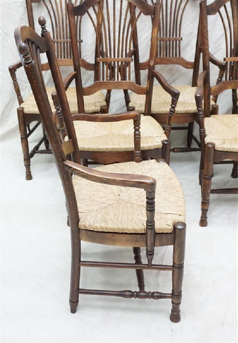 6 OAK RUSH SEAT ARM CHAIRS DINING - 4