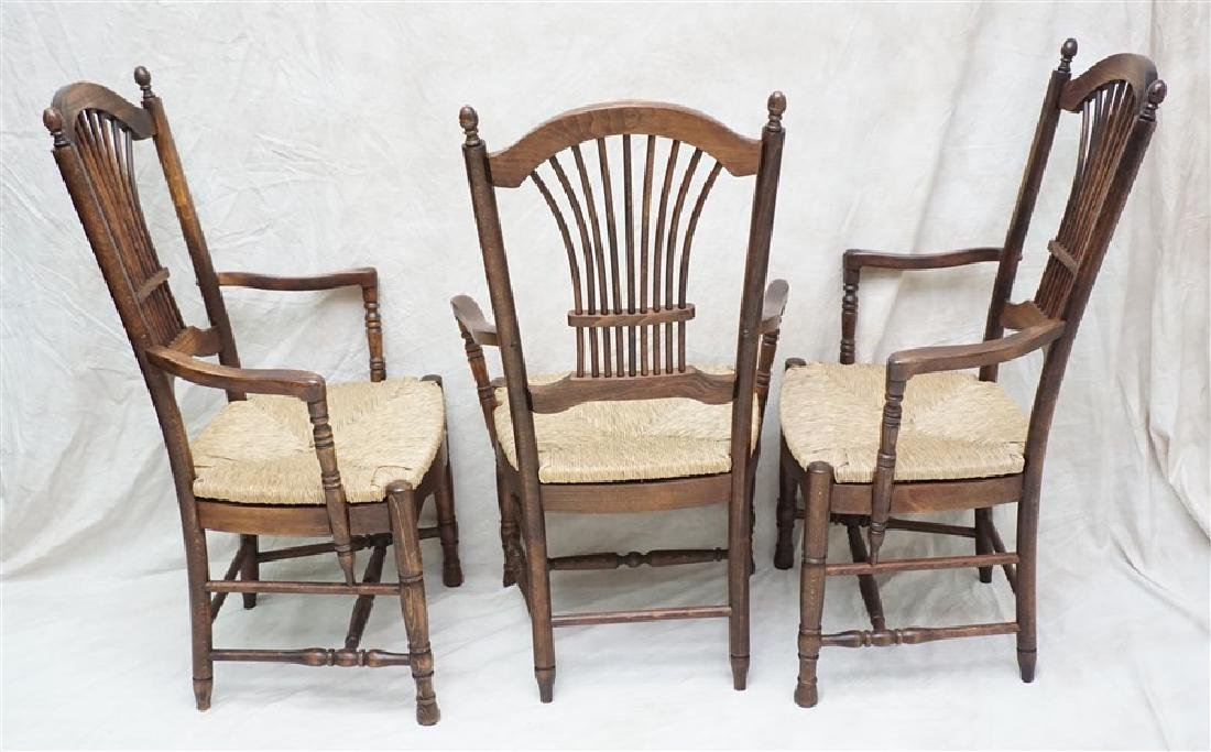6 OAK RUSH SEAT ARM CHAIRS DINING - 6