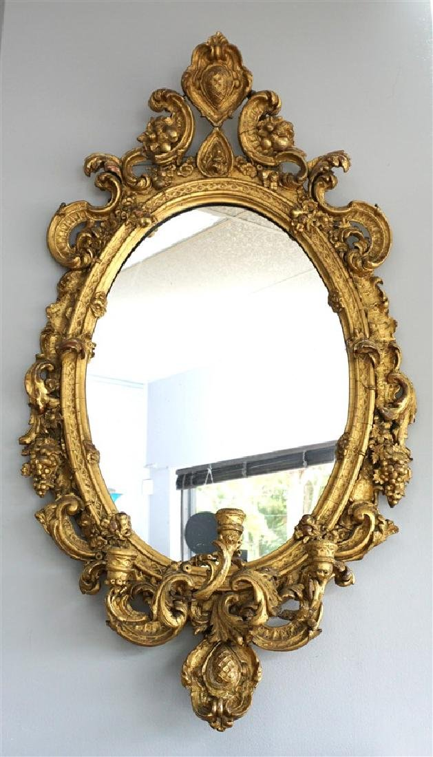 19TH C. ORNATE GIRANDOLE MIRROR