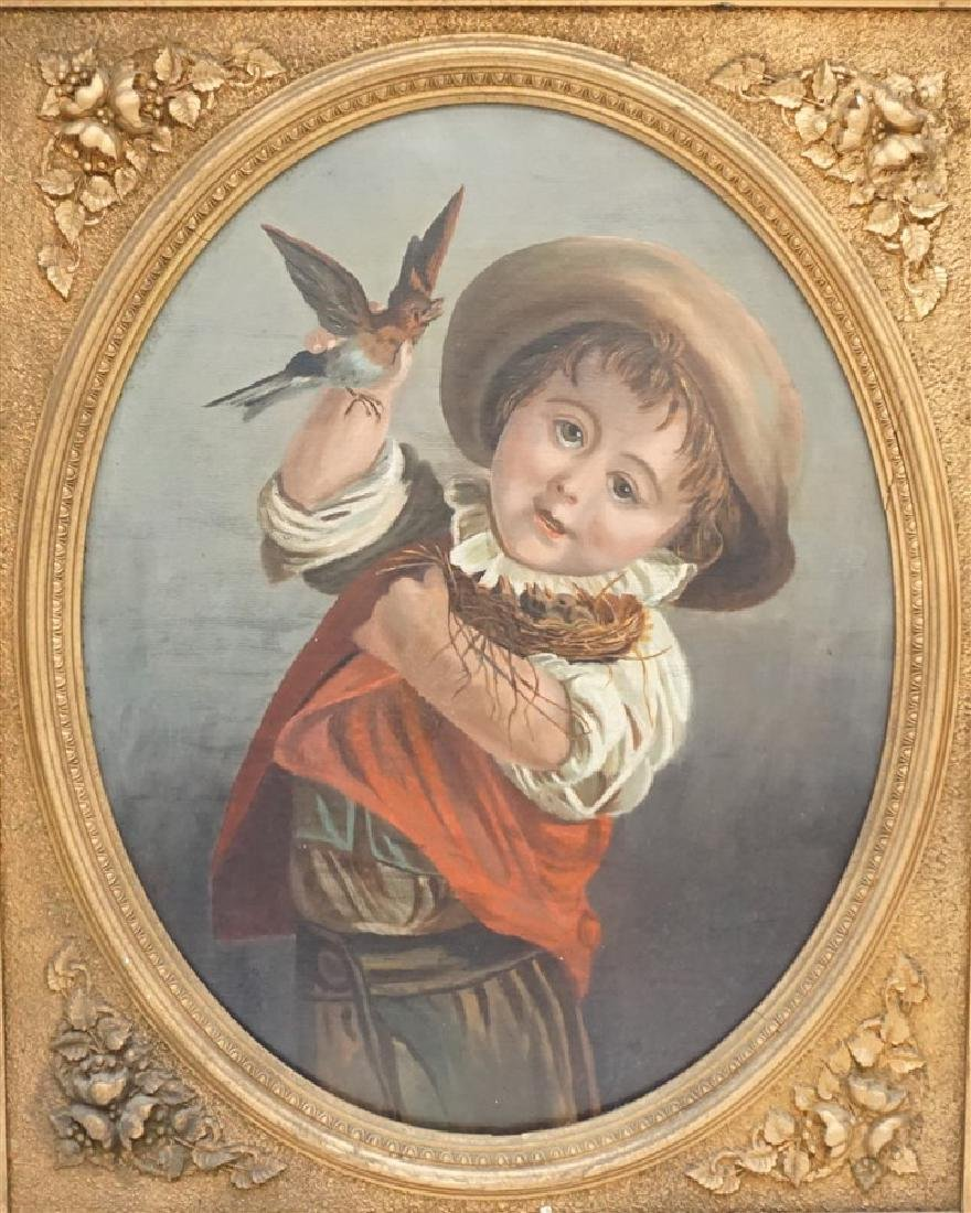 VICTORIAN OIL YOUNG BOY WITH BIRDS - 2