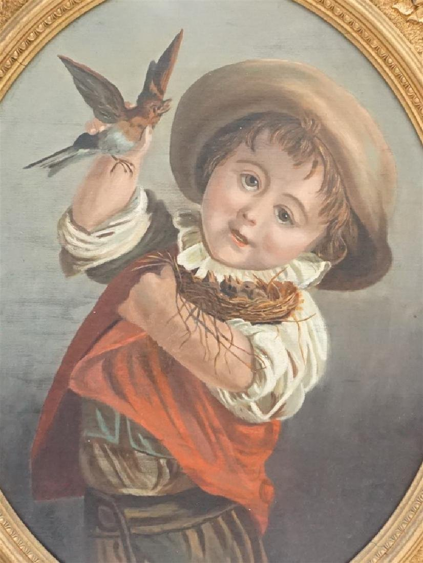 VICTORIAN OIL YOUNG BOY WITH BIRDS - 3