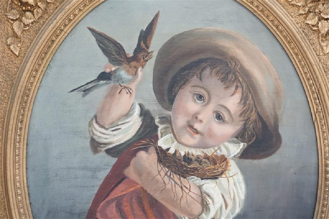 VICTORIAN OIL YOUNG BOY WITH BIRDS - 5