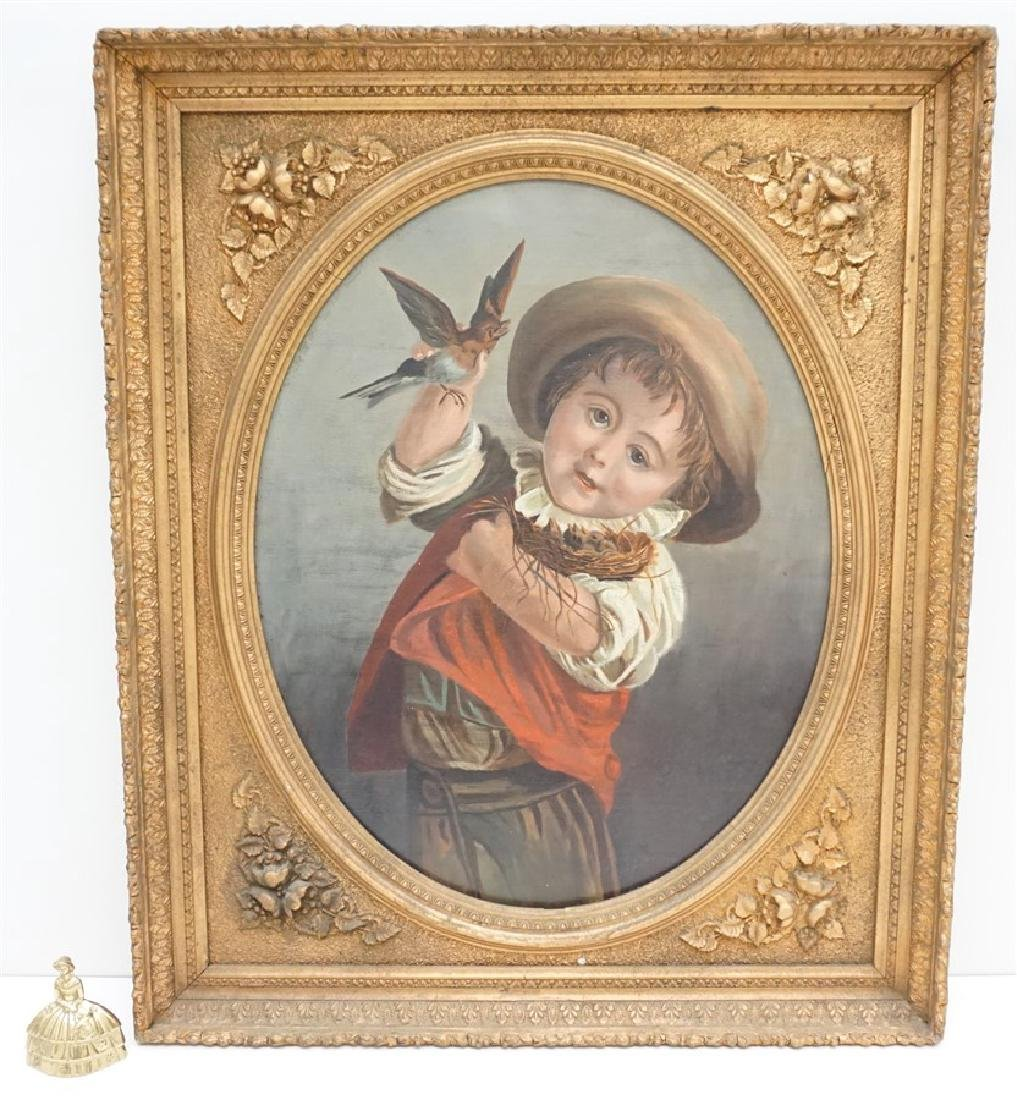 VICTORIAN OIL YOUNG BOY WITH BIRDS - 9