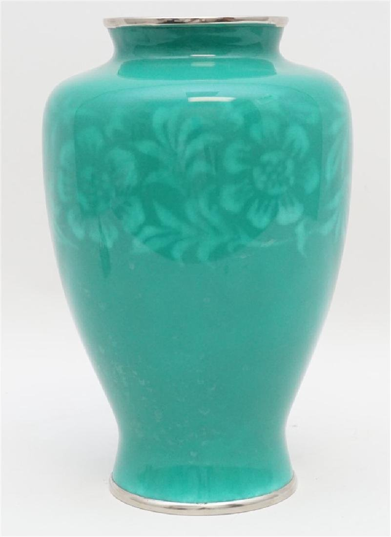 JAPANESE SILVER ANDO CLOISONNE VASE - 2