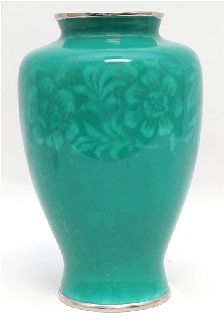 JAPANESE SILVER ANDO CLOISONNE VASE - 4