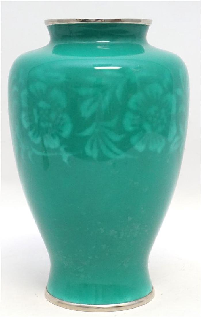 JAPANESE SILVER ANDO CLOISONNE VASE - 5