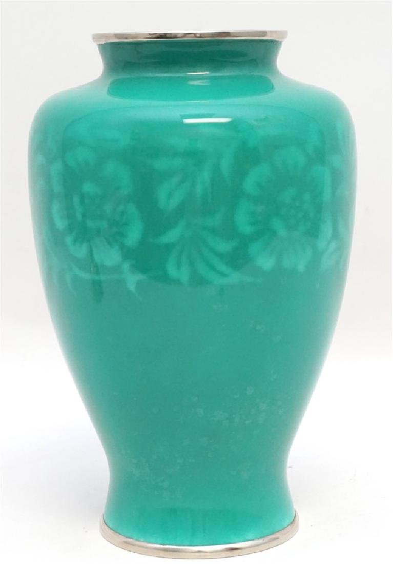 JAPANESE SILVER ANDO CLOISONNE VASE - 6