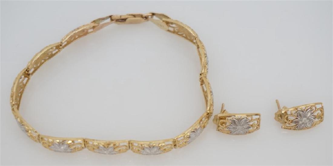 14KT GOLD BRACELET/EARRING SET (7.50 GRAMS) - 2