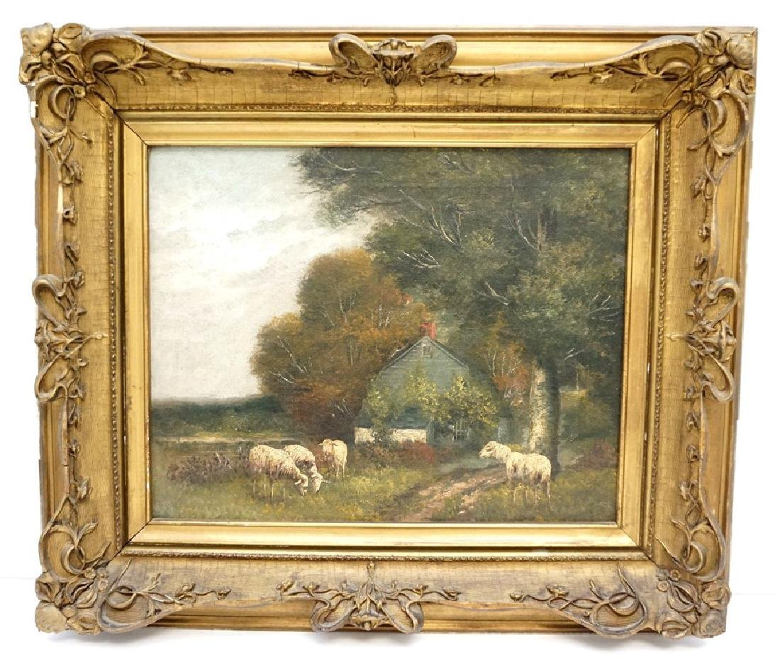19th c. ENGLISH COUNTRY SHEEP & COTTAGE