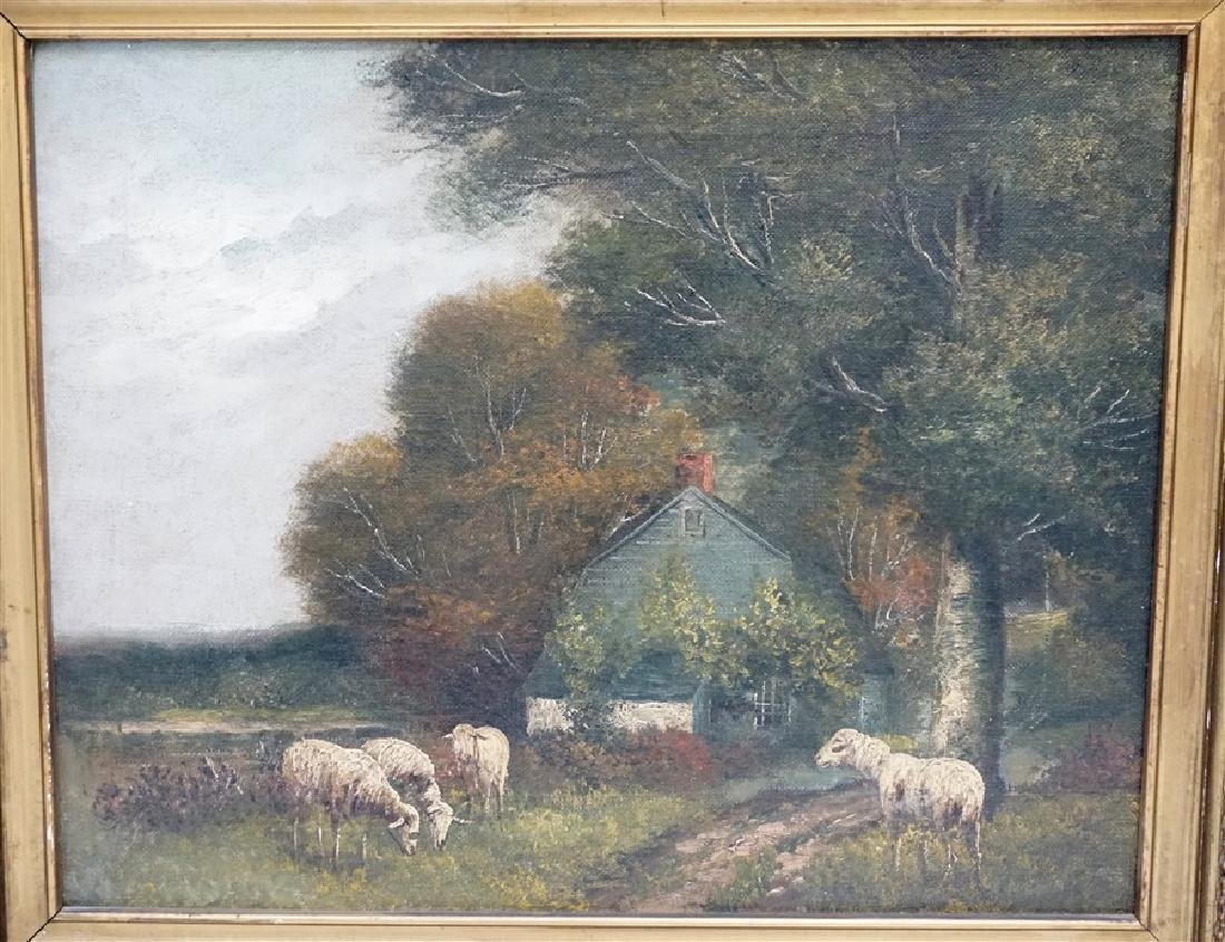19th c. ENGLISH COUNTRY SHEEP & COTTAGE - 2