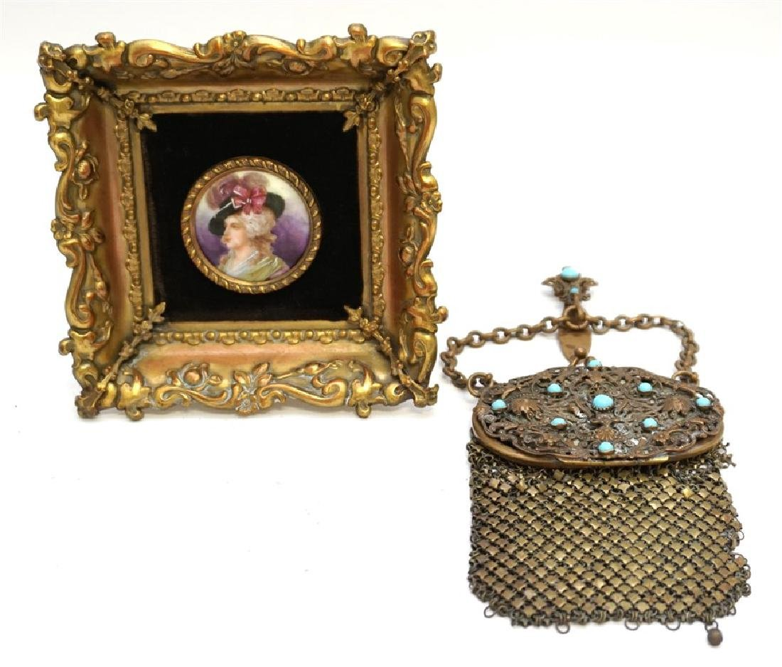 2 pc ANTIQUE FILIGREE PURSE & PORTRAIT