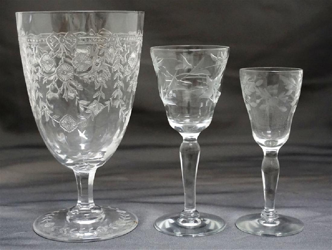12 pc VINTAGE ELEGANT ETCHED PANELED GLASS