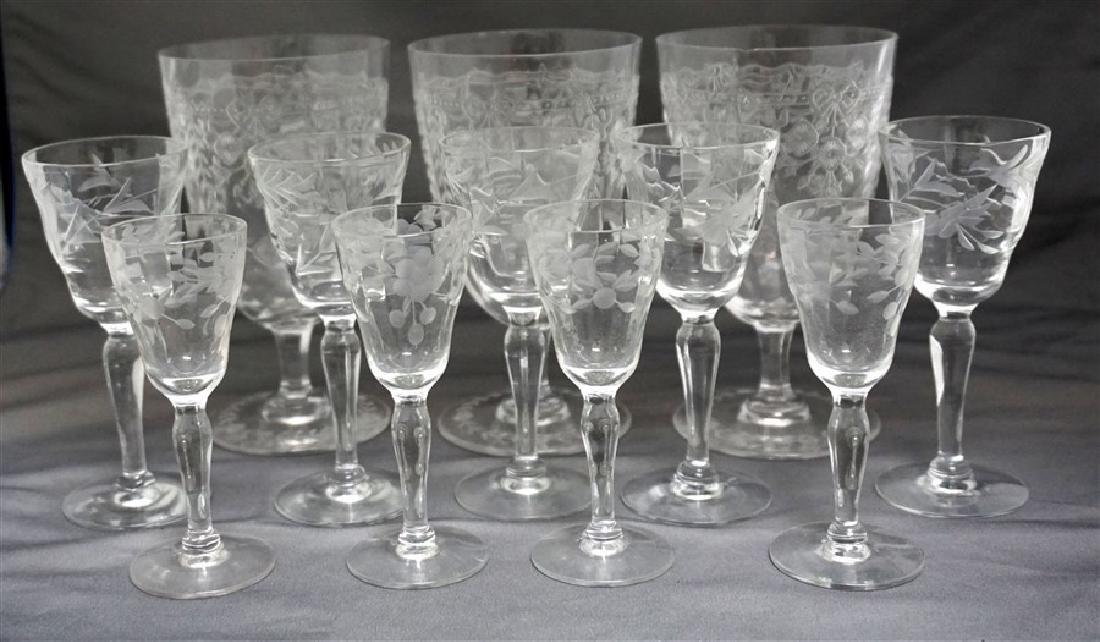 12 pc VINTAGE ELEGANT ETCHED PANELED GLASS - 2