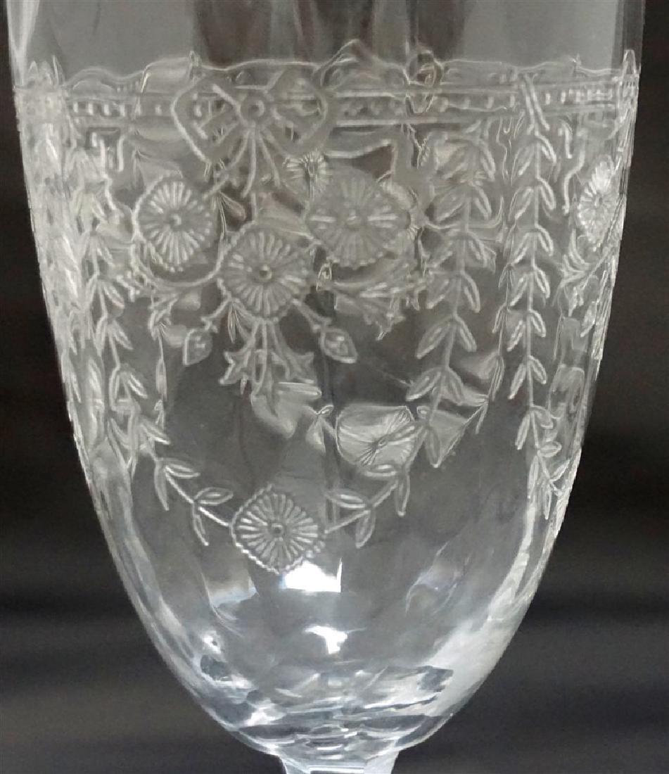 12 pc VINTAGE ELEGANT ETCHED PANELED GLASS - 3