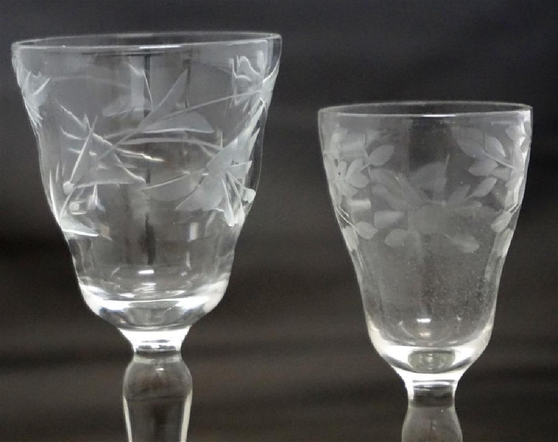 12 pc VINTAGE ELEGANT ETCHED PANELED GLASS - 4