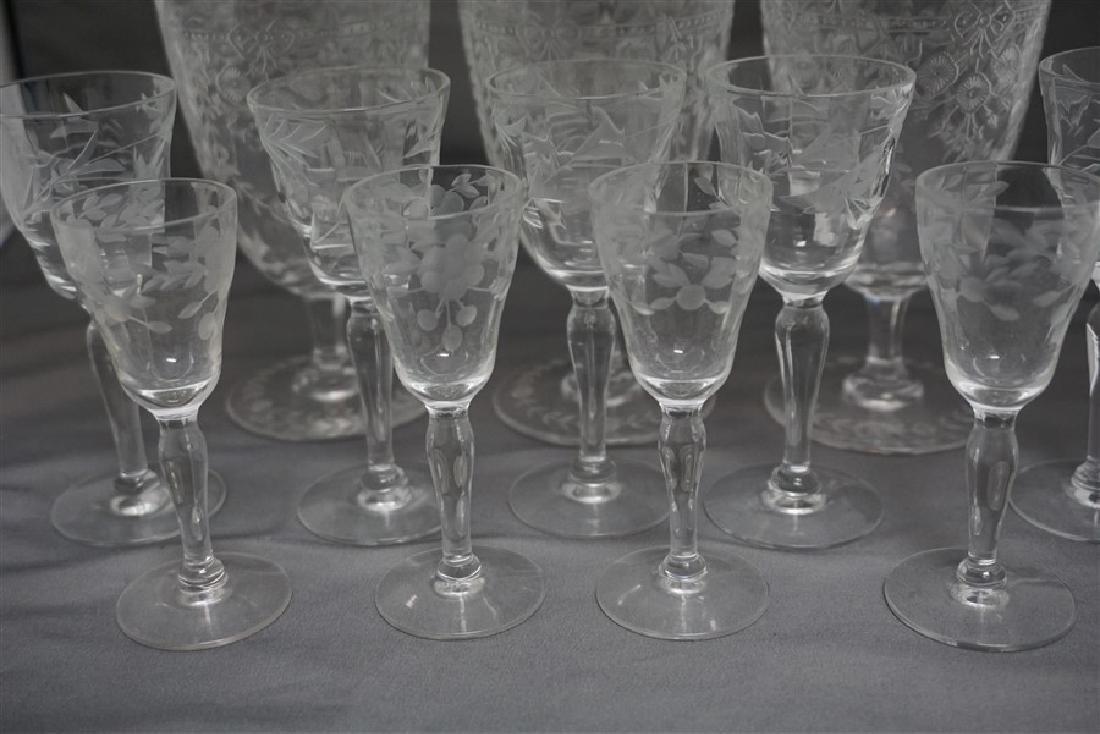 12 pc VINTAGE ELEGANT ETCHED PANELED GLASS - 6