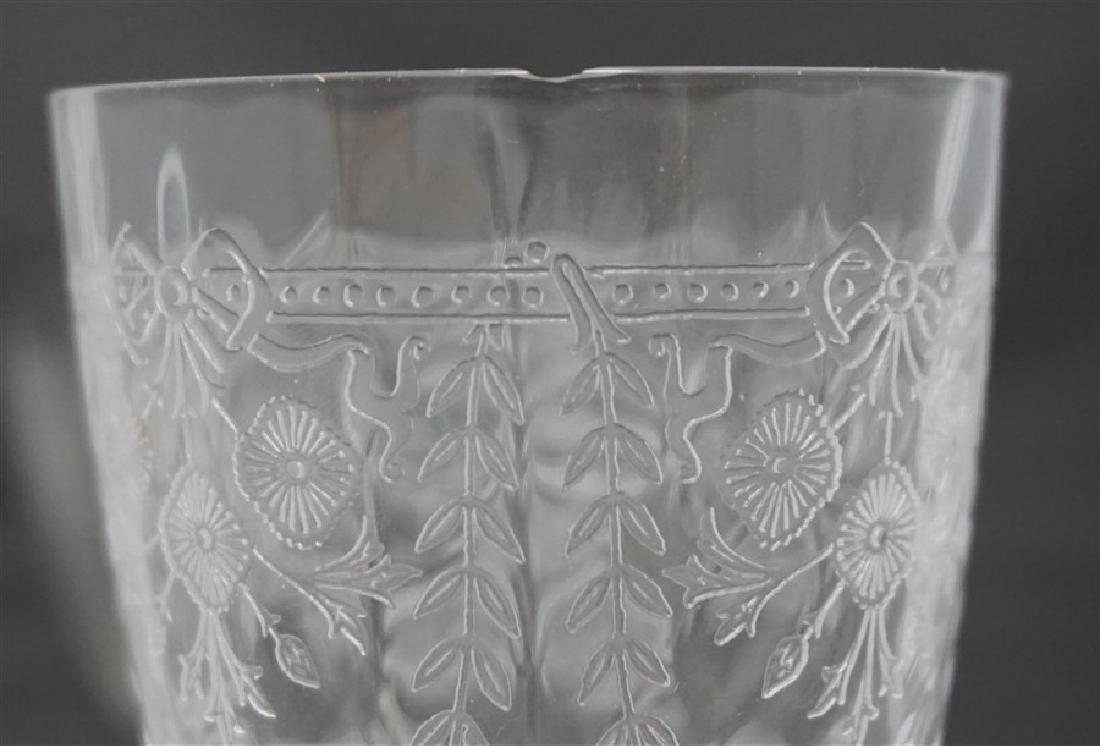12 pc VINTAGE ELEGANT ETCHED PANELED GLASS - 8