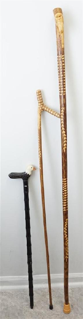 3 CARVED WALKING STICKS / CANE