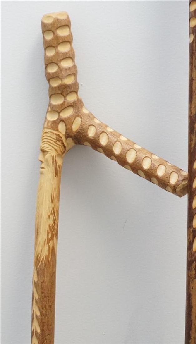 3 CARVED WALKING STICKS / CANE - 4