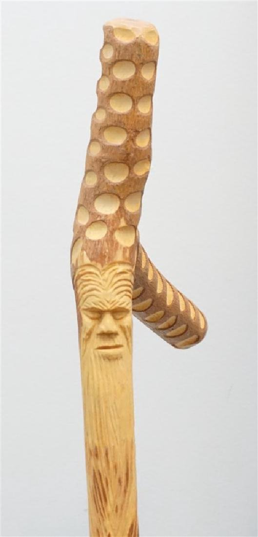 3 CARVED WALKING STICKS / CANE - 5