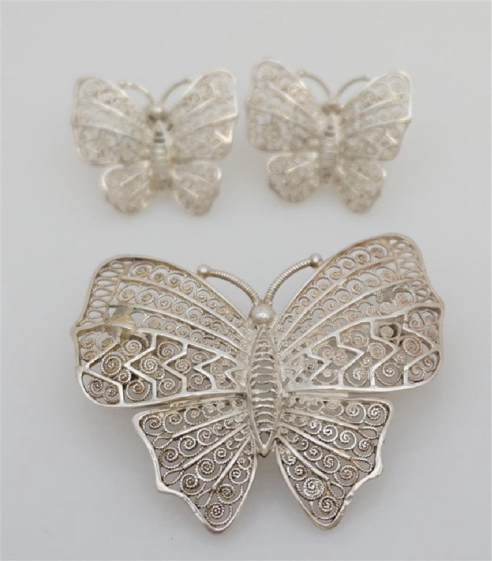 3 PC ALICE CAVINESS STERLING BUTTERFLIES