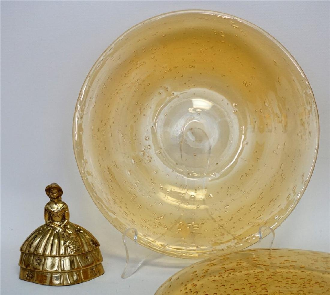 10 VINTAGE BLOWN AMBER GLASS LUNCHEON PLATES - 6