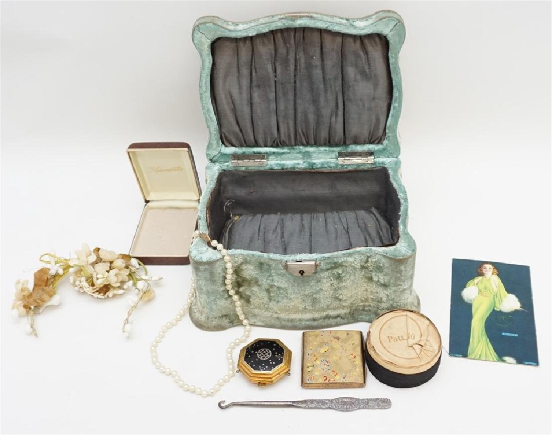 VICTORIAN VELVET JEWELRY / SEWING BOX +