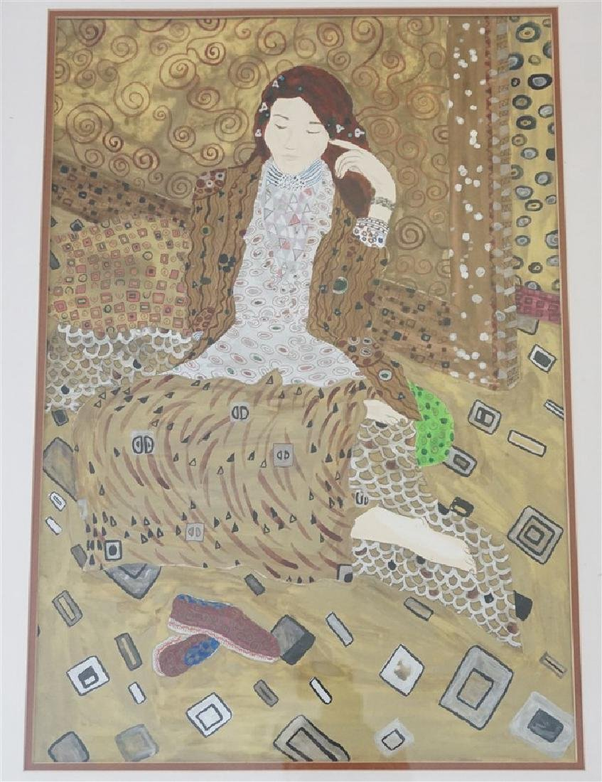LARGE MIXED MEDIA PAINTING AFTER KLIMT