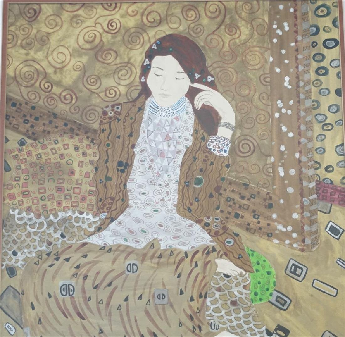 LARGE MIXED MEDIA PAINTING AFTER KLIMT - 3