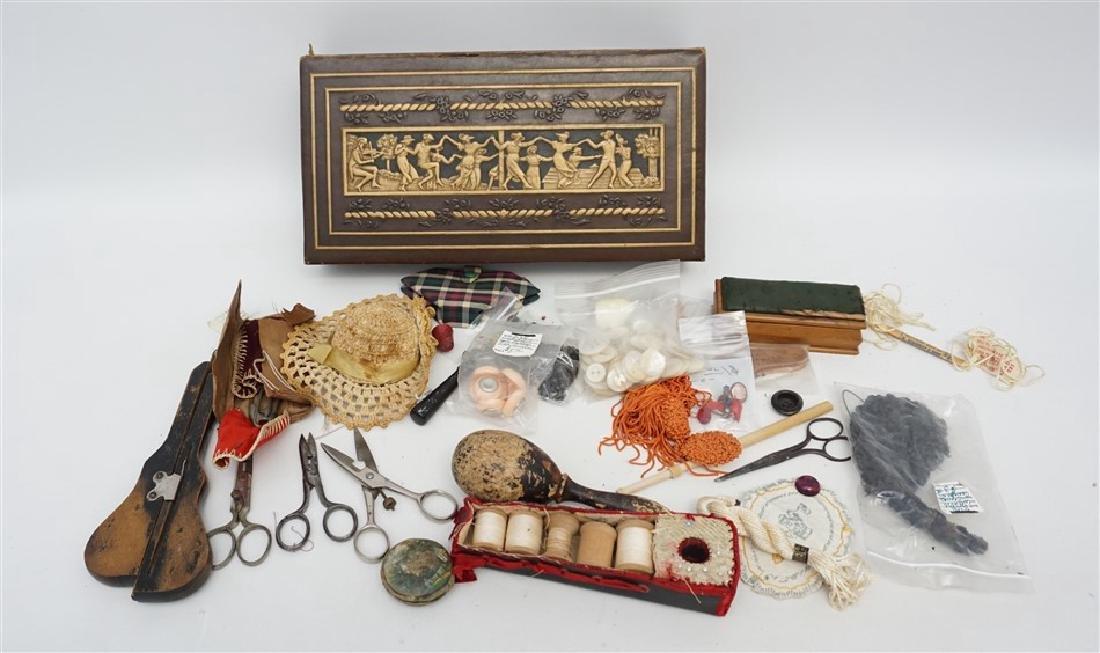VINTAGE SEWING / DRESSER BOX FULL