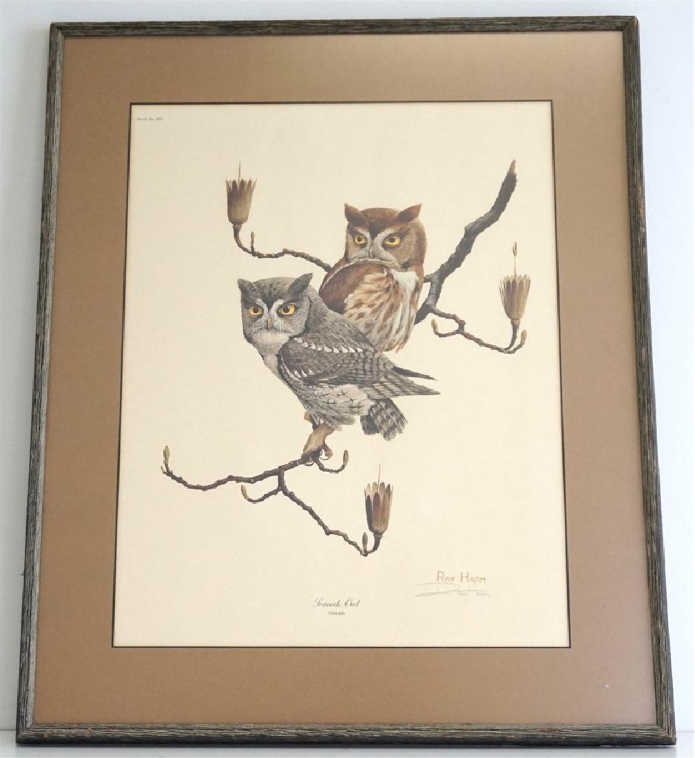 RAY HARM SCREECH OWL SIGNED LITHO
