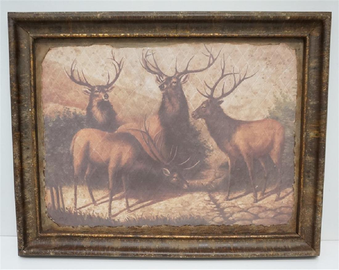 LARGE FRAMED PARK HILL COLLECTIONS STAGS WALL ART